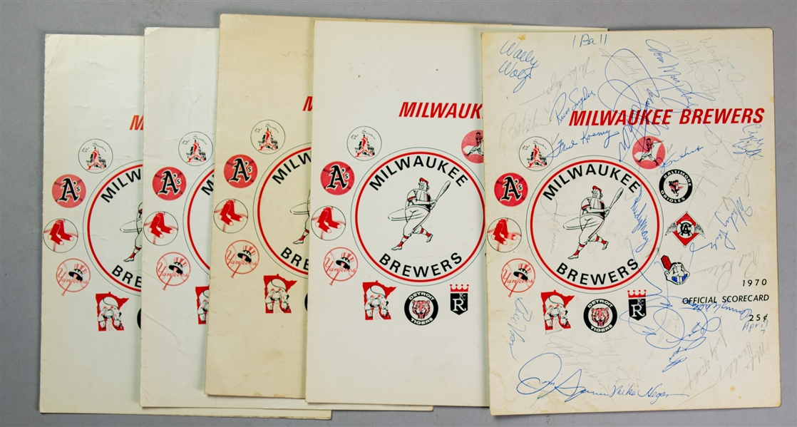 1970 Milwaukee Brewers County Stadium First Game Franchise History Scorecards - Lot of 5 w/ 2 Scored & 1 Multi-Signed (JSA)