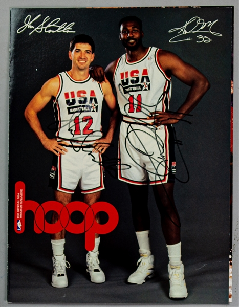 1992 John Stockton Karl Malone Utah Jazz Signed Hoop Magazine Dream Team Cover Page (JSA)