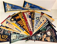 1980s-2000s Baseballs Pennants Including Milwaukee Brewers, Seattle Pilots, and more (Lot of 20+)