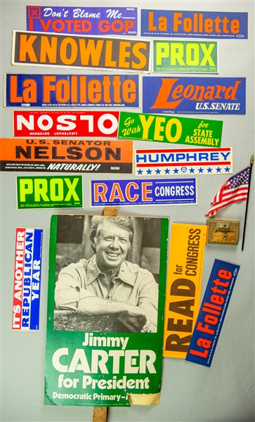 1970s-1980s Jimmy Carter for President Sign w/ Political Bumper Stickers & More (Lot of 17)