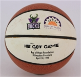 1998 Ray Allen Milwaukee Bucks Signed Ray of Hope Foundation He Got Game Milwaukee Premier Mini Basketball (JSA)