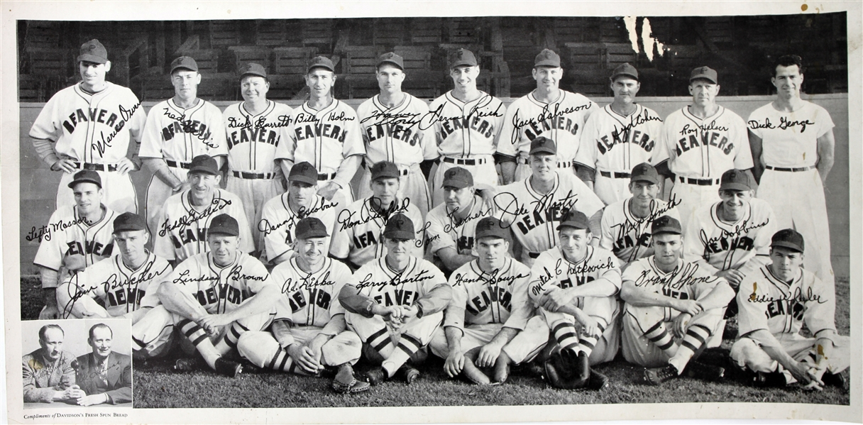 "1946 Portland Beavers PCL 9.5"" x 19"" Davidsons Fresh Spun Bread Team Photos - Lot of 2"
