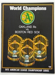 1975 Oakland As vs Boston Red Sox American League Championship Series Program