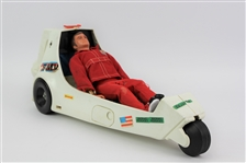"1973 Six Million Dollar Man Bionic Drag Race 21"" Motorcycle Toy w/ Full Size Action Figure"