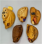 1950s-70s Store Model First Baseman Mitt Collection - Lot of 5 w/ Ferris Fain, Vic Power, Gordon Coleman & Mike Hegan