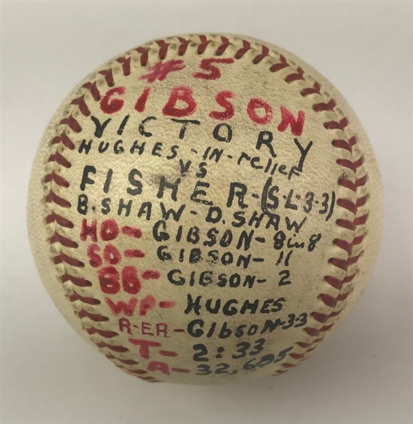 1967 (May 19) Bob Gibson St. Louis Cardinals ONL Giles Game Used Victory Baseball (MEARS LOA)