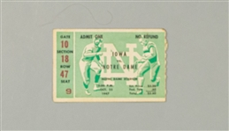 1947 (October 25) Notre Dame Fighting Irish Iowa Hawkeyes Ticket Stub (Johnny Lujack Heisman Season)