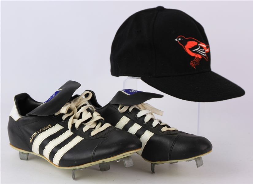 1970s-90 Jim Palmer Baltimore Orioles Adidas Cleats & Signed Post Career Cap (MEARS LOA/JSA)
