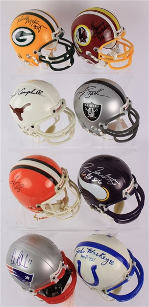 2000s Signed Mini Football Helmet Collection - Lot of 20 w/ Jim Brown, Dan Fouts, Ken Stabler & More (JSA)