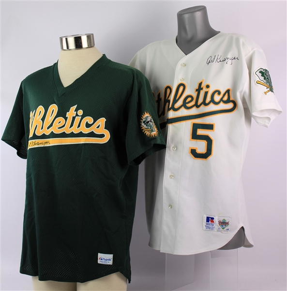 1993-95 Art Kusnyer Oakland Athletics Signed Game Worn Home & Batting Practice Jerseys - Lot of 2 (MEARS LOA/JSA)