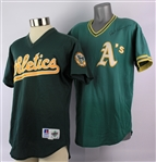 1988-95 Art Kusnyer Oakland Athletics Signed Game Worn Batting Practice Jerseys - Lot of 2 (MEARS LOA/JSA)