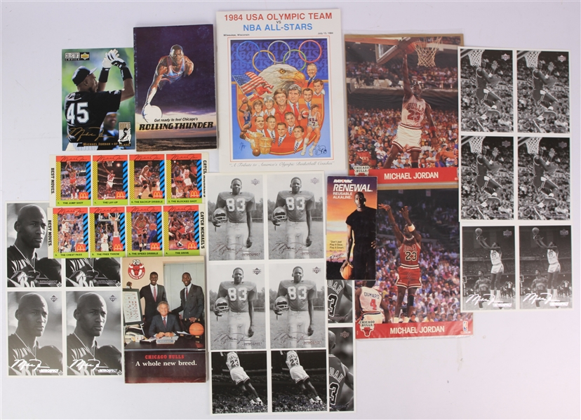 1980s-90s Michael Jordan Chicago Bulls Memorabilia Collection - Lot of 15 w/ 1984 USA Olympic Team vs NBA All Stars Program, Media Guides, Uncut Postcard Sheets & More