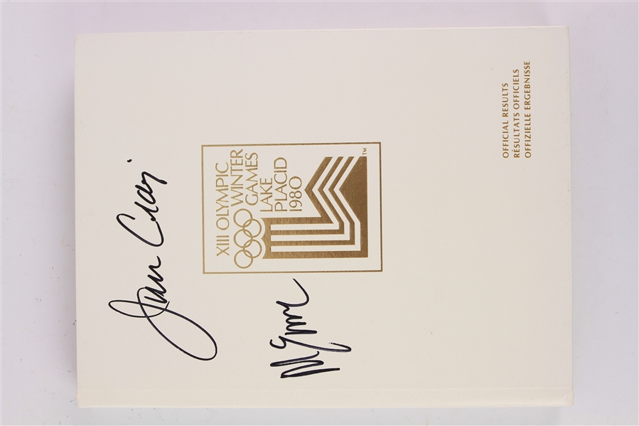 1980 Jim Craig Mike Eruzione USA Hockey Signed XIII Olympic Winter Games Lake Placid Hardcover Official Results Book (JSA)