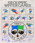 "1980 USA Hockey Team Signed 19"" x 24"" XIII Olympic Winter Games Lake Placid Poster w/ 15 Signatures Including Jim Craig, Mike Eruzione, Bill Baker & More (JSA)"