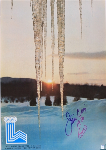 "1980 Jim Craig USA Hockey Signed 17"" x 25"" XIII Olympic Winter Game Lake Placid Poster (JSA)"