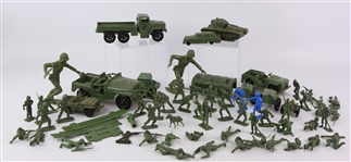 1940s WWII Hard Plastic Army Soldiers & Accessories - Lot of 60+