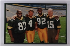 "1997-98 Bart Starr Brett Favre Reggie White Willie Davis Green Bay Packers 20"" x 30"" Framed Photo"