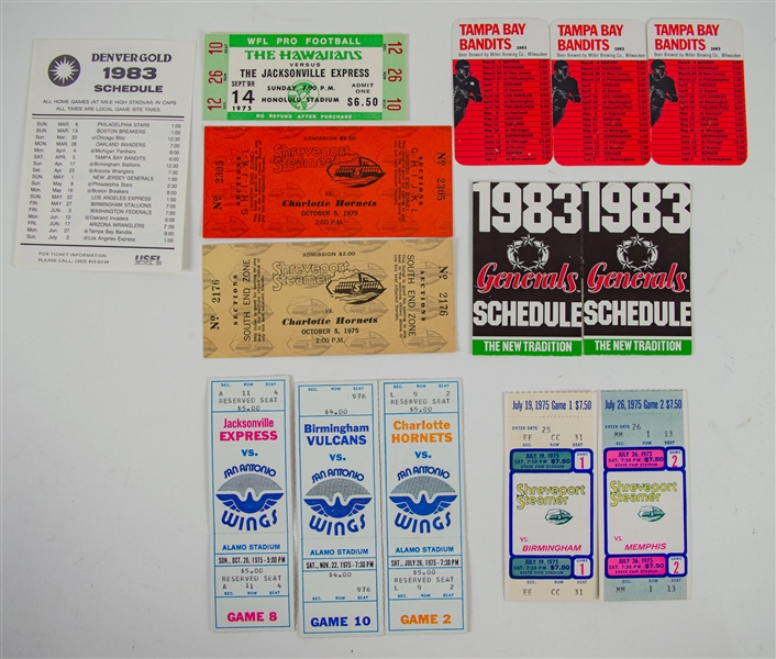1975-1983 USFL and WFL Tickets and Schedules Including Charlotte Hornets, Denver Gold, & more (Lot of 13)