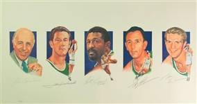 "1990s Red Auerbach Bill Russell Bob Cousy John Havlicek Tom Heinsohn Signed 22"" x 39"" Boston Celtics Legends Lithograph (JSA) 444/500"