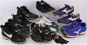 1990s-2000s Baseball & Football Cleat Collection - Lot of 9 w/ Javon Walker, Mark Loretta Signed & More (MEARS LOA)