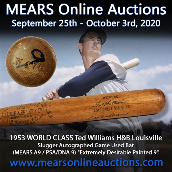 1953 Ted Williams Boston Red Sox Signed H&B Louisville Slugger Professional Model Game Used Bat (MEARS A9/JSA & PSA/DNA GU9)