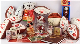 1990s-2000s Wisconsin Badgers Memorabilia Collection - Lot of 30 w/ Bucky Badger Items, Ron Dayne Signed Items & More