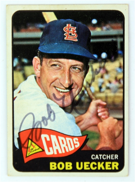 1965 Bob Uecker St. Louis Cardinals Signed Topps Trading Card (JSA)