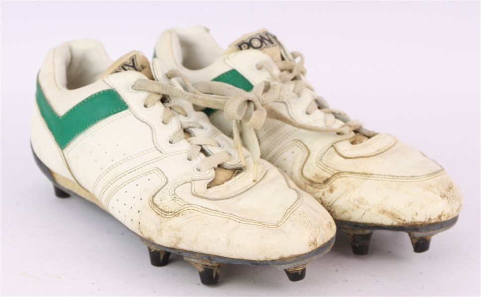 1992-93 Robert Brooks Green Bay Packers Signed Pony Game Worn Cleats (MEARS LOA/JSA)