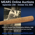 1934-35 Jimmie Foxx Philadelphia Athletics H&B Louisville Slugger Professional Model Game Used Bat (MEARS A7)