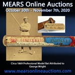 1869 circa Professional Model Bat Attributed To George Wright via Period Accoutrements (MEARS A10, JSA)