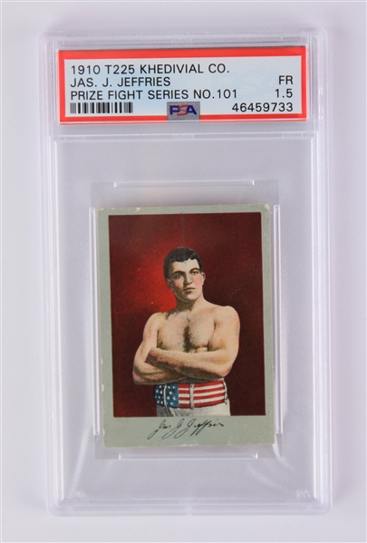 1910 James J. Jeffries World Heavyweight Champion T225 Khedivial Co. Tobacco Card (PSA Slabbed FR 1.5)