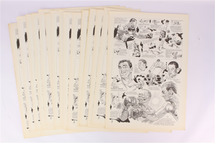 "1950s Rocky Marciano Joe Louis World Heavyweight Champions 15"" x 22"" Illustrated Pages - Lot of 19"