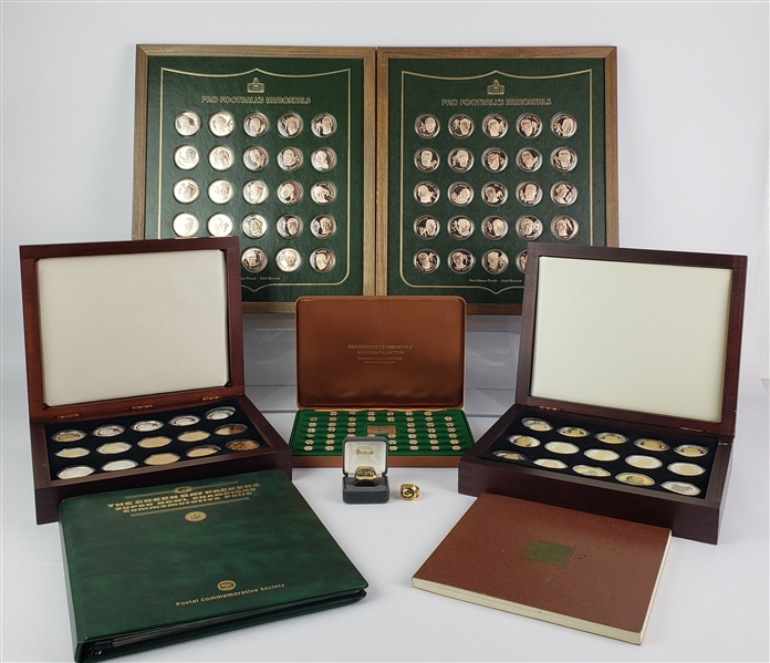 1970s-2000s Football Medallion Sets & Replica Super Bowl Rings - Lot of 8 w/ Super Bowls, Hall of Fame & More