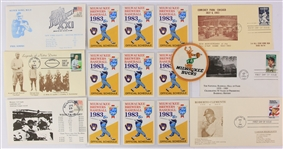 1980s Brewers Pocket Schedules, First Day Covers & Milwaukee Bucks Patch - Lot of 16