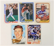 1965-82 Baltimore Orioles Signed Baseball Trading Cards - Lot of 5 w/ Brooks Robinson, Jim Palmer & Mike Flanagan (JSA)