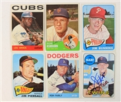 1963-69 Signed Baseball Trading Cards - Lot of 6 w/ Richie Ashburn, Ron Fairly & More (JSA)
