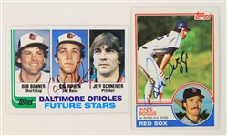 1982-83 Cal Ripken Jr. Wade Boggs Orioles/Red Sox Signed Rookie Topps Baseball Trading Cards - Lot of 2 (JSA)