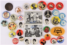 1940s-60s Americana Pinback Button Collection - Lot of 31 w/ Beatles, Roy Rogers, John F. Kennedy & More