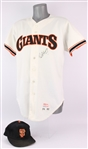 1986 Norm Sherry San Francisco Giants Signed Game Worn Home Jersey w/ 1989-90 Game Worn Cap (MEARS LOA/JSA)