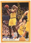 1993 Chris Webber Michigan Wolverines Signed Classic Basketball Trading Card (JSA)