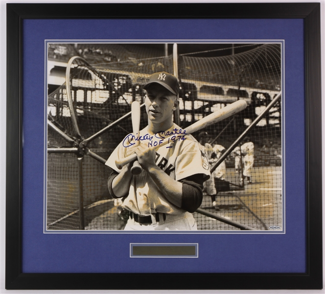 "1990s Mickey Mantle New York Yankees Signed 24"" x 27"" Framed Photo (JSA/Upper Deck)"
