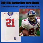 2001 Pounded Tiki Barber New York Giants Game Worn Road Jersey (MEARS A10)