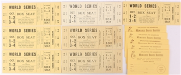 1958 Milwaukee Braves Memorabilia Collection - Lot of 12 w/ Closed Circuit World Series Tickets & Booster Club Applications