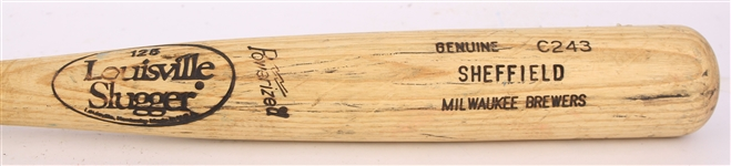 1991 Gary Sheffield Milwaukee Brewers Louisville Slugger Professional Model Game Used Bat (MEARS A10)