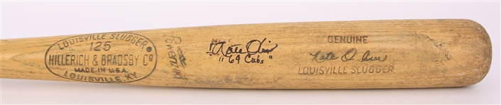 1969 Nate Oliver Chicago Cubs Signed H&B Louisville Slugger Professional Model Game Used Bat (MEARS LOA/JSA)