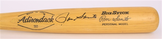 1971-73 Ron Santo Chicago Cubs Signed Adirondack Professional Model Bat (MEARS A5/JSA)
