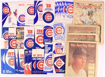 1950s-2000s Chicago Cubs Memorabilia Collection - Lot of 150 w/ Press TV Radio Guides, Stubs, Autos, Photos, Decals, Pinbacks & More