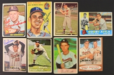 19 Milwaukee Braves Baseball Trading Card Collection - Lot of 8 w/ 3 Signed Including Red Schoendienst & Ray Crone (JSA)