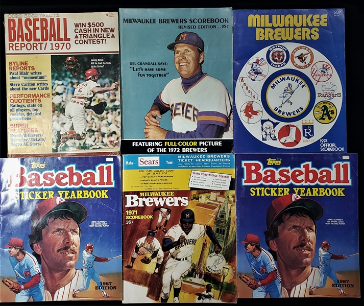 1970-87 Baseball Publication Collection - Lot of 6 w/ Milwaukee Brewers Scorebooks, 1987 Topps Sticker Yearooks & More